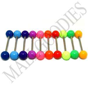 "W010 Acrylic Tongue Rings Barbells Bar 14G Plain Solid Colors 5/8"" 16mm 10pcs"