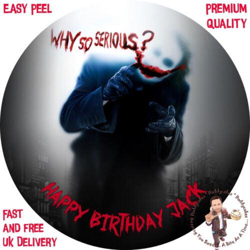 "Joker Batman Why So Serious 8/"" Round Premium Glaçage Feuille Personnalisé Cake Topper"