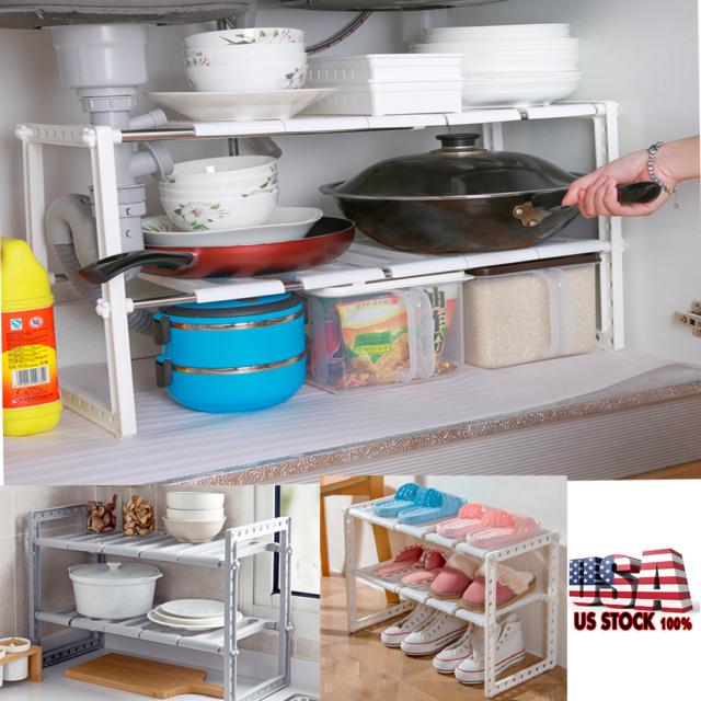 UNDER SINK 2 Tier Storage Shelf Kitchen Cabinet Organizer Stand Rack Space  Saver