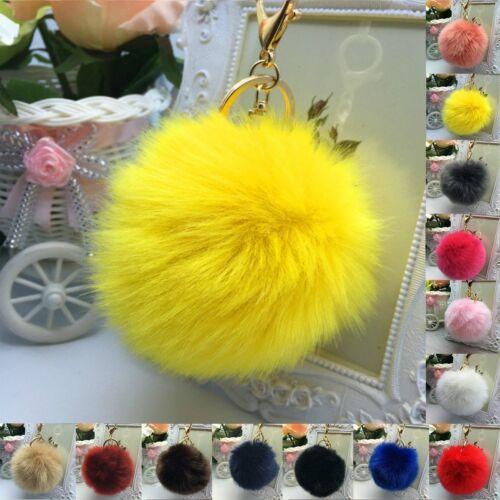 Large Cute Faux Fur Pom Pom Ball Car Key Chain Handbag Pendant Key Ring