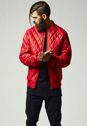 URBAN Classics Uomo Giacca di pelle Rocker Clubwear Pelle Trapuntato Giacca Rosso Diamond