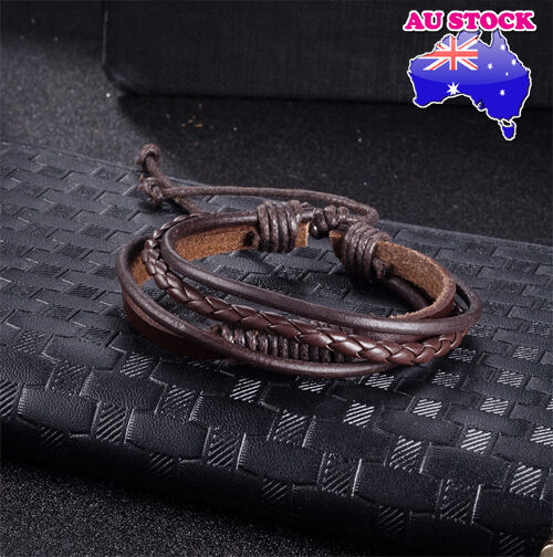 Fashion Women Men Leather  Multi-Layer Hand Adjustable  Bracelet (Brown)
