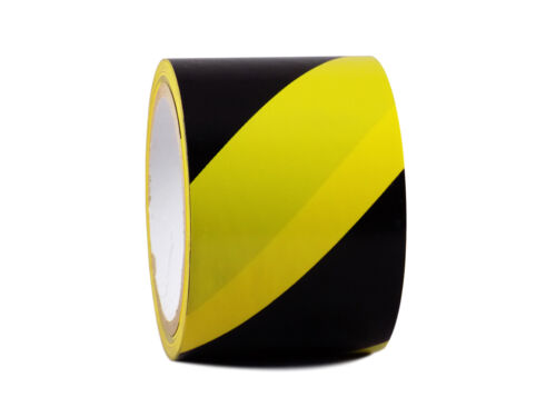 1 Roll VINYL FLOOR STRIPED SAFETY WARNING MARKING TAPE BLACK//YELLOW 3INCH x 54FT