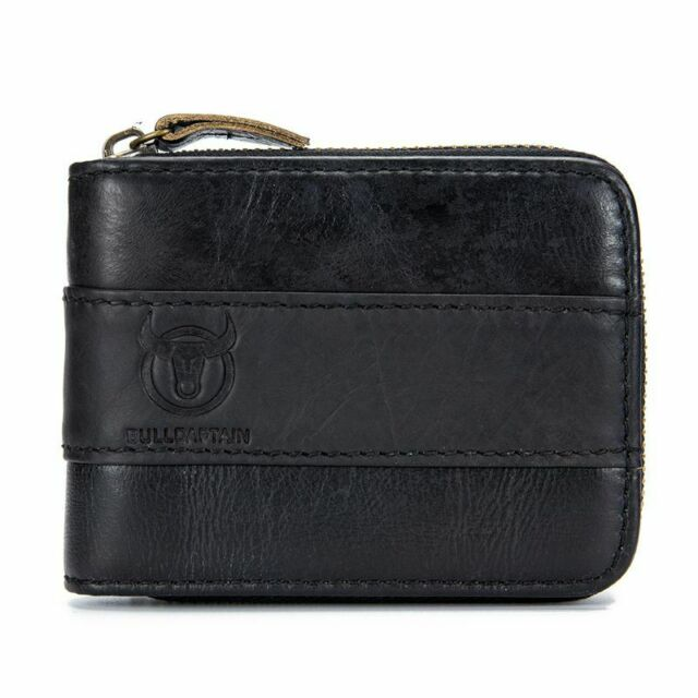 BULLCAPTAIN Genuine Leather Men Wallet RFID Blocking Vintage Bifold Wallets Y5X8