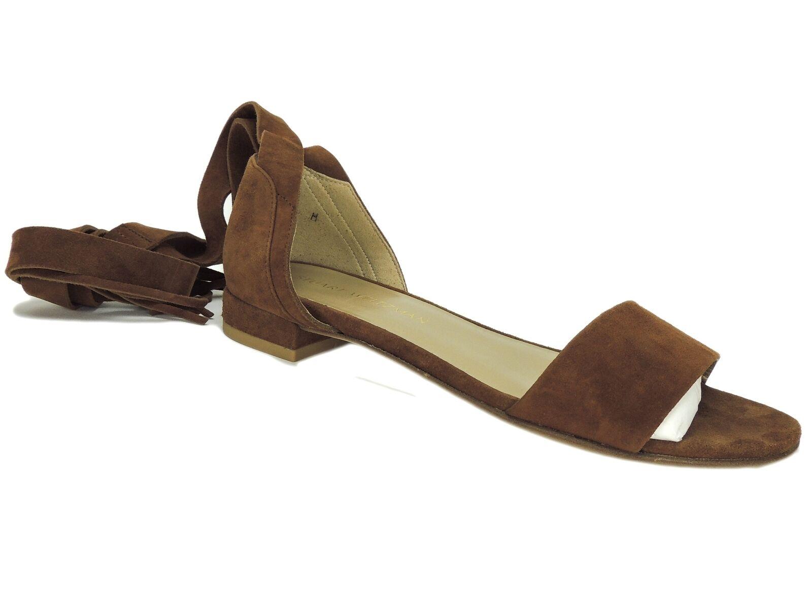 Stuart Weitzman Women's Women's Women's Corbata Flat Sandals Amaretto Suede Size 8 M 7b1059
