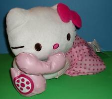 Adorable Hello Kitty Pillow Talking on Phone Pink Jumper Shirt Bow Sanrio 18""