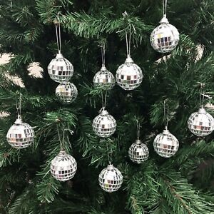 Image Is Loading Christmas Disco Mirror Balls Baubles Silver Xmas Tree