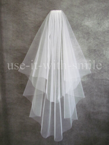 """BRIDAL 2 Tier Off White Wedding Fingertip Veil With Comb 72/"""" Cut Edge NEW UK"""