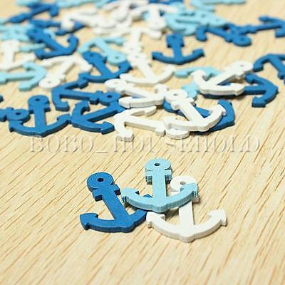 50Pcs Mini Wooden Sea Anchor Nautical Craft Scrapbooking Embellishment Decor