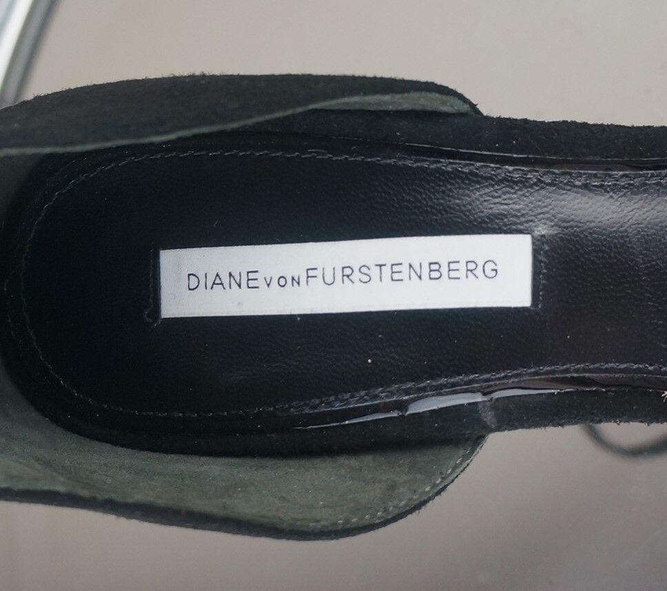 DIANE Von Furstenberg Neri in Pelle Scamosciata Tacco alla Sandali Punta Aperta Cinturino alla Tacco Caviglia NUOVO SENZA ETICHETTA 6.5 8c7896