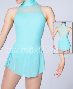 Spandex Competition Skating Wear Handmade Fashion Sleeveless Training blueee