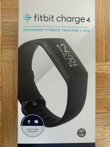 FITBIT CHARGE 4 Black NEW SEALED Advanced Health /& Fitness Tracker with GPS