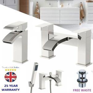 Chrome-Waterfall-Bathroom-Tap-Set-Basin-Mixer-Bath-Filler-Shower-Deck-Taps-Packs