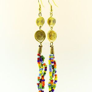 Handmade-African-Jewelry-Multi-Color-Bead-Strand-Earrings-129-22