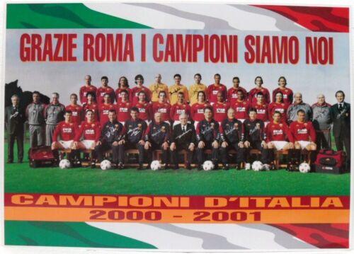 48,5 x 68 POSTER CAMPIONI D/'ITALIA 2000-2001 GRAZIE ROMA in cartoncino cm