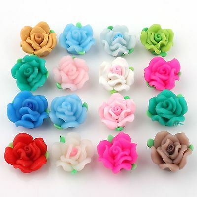 150x Lots Mixed Fimo Polymer Clay Rose Flower Bead 15mm Dia Free Ship 110719