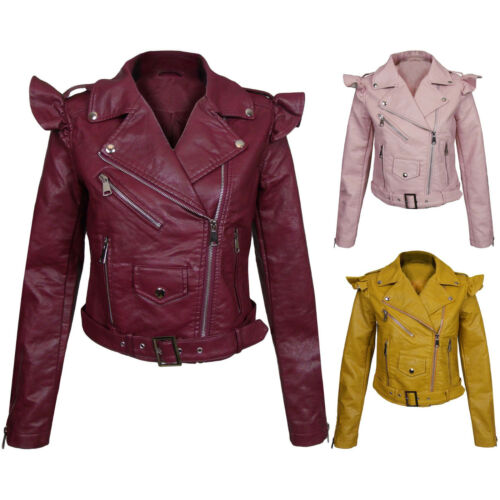 New Faux Leather Frill Detail Biker Jacket Belted PU Belted Zip Fitted Coat