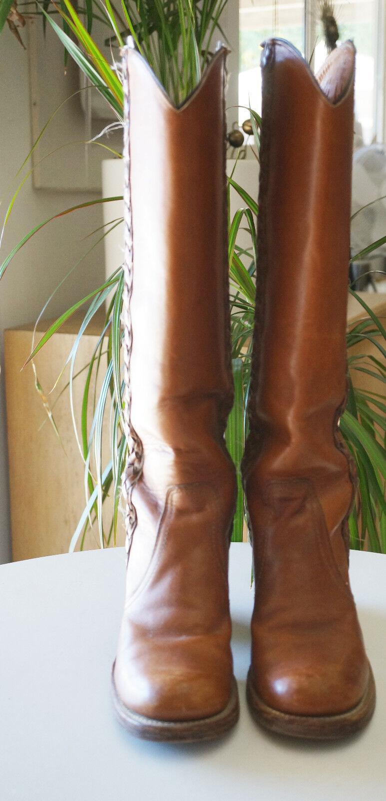 colorways incredibili Vintage donna Frye stivali Knee Knee Knee High Leather nero Label 1970s  memorizzare