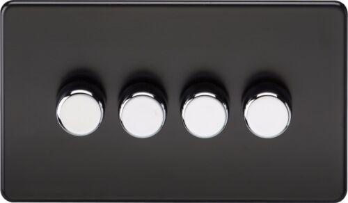 400W rotatif dimmer interrupteur de lumière 4G 4 gang 2 way Knightsbridge screwless 40W
