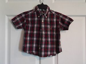 09039ed9d EUC Tommy Hilfiger boys 2 T short sleeve button down red blue plaid ...