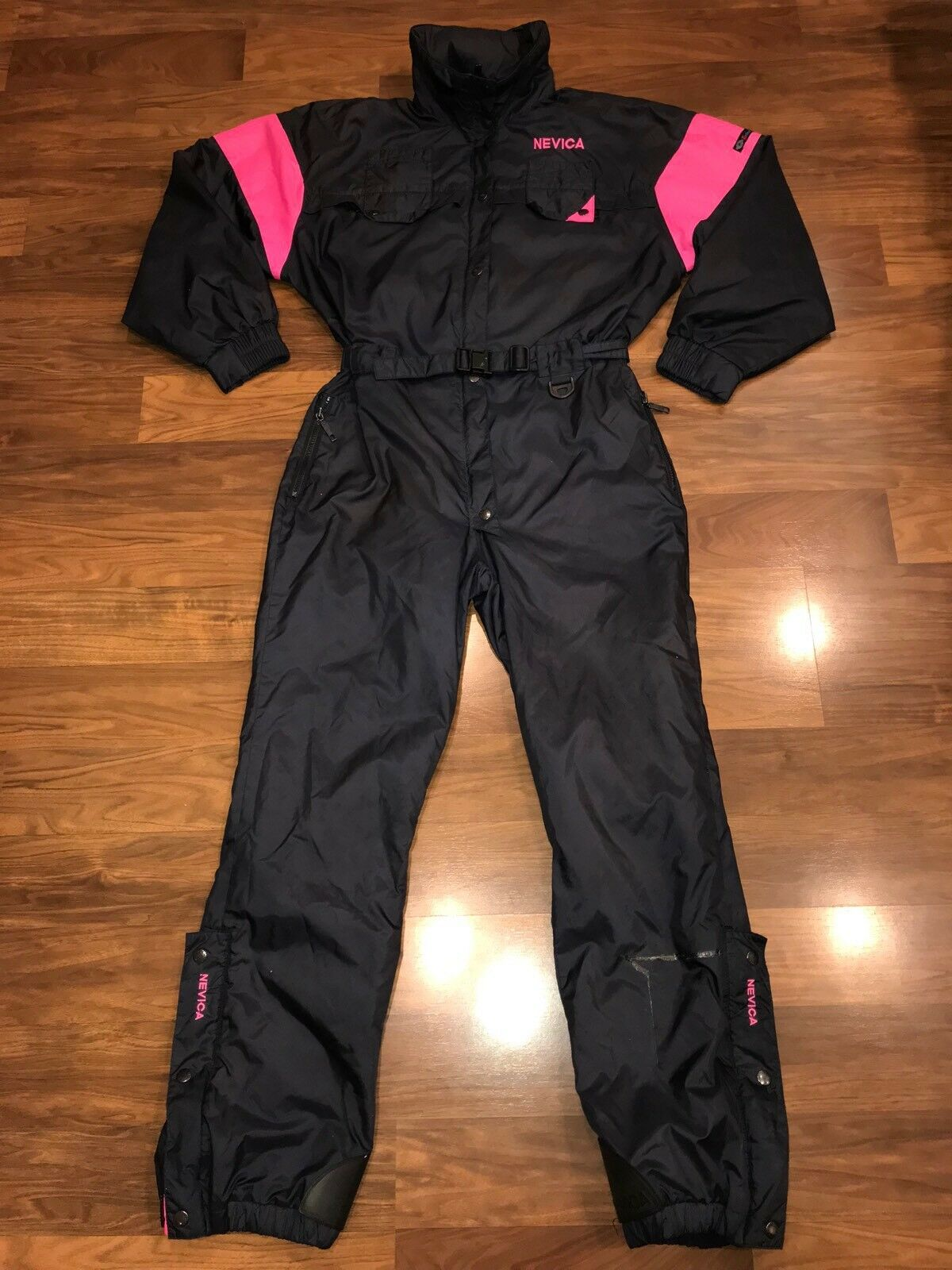 Vtg 80s 90s Navy NEVICA Herren SMALL One Piece SKI SUIT Snow Bib Neon Snowsuit S