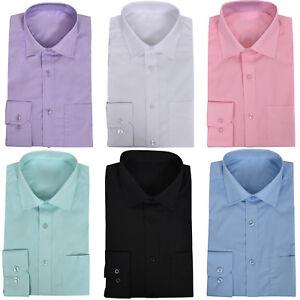 Para-Hombre-Formal-Manga-Larga-Cuello-Completo-de-bolsillo-en-el-pecho-de-fiesta-informal-camisas-de