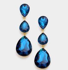 "3"" Long Teal Blue Austrian Crystal Pageant Wedding Bridal Chandelier Earrings"