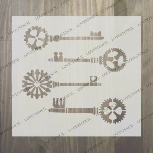 steampunk keys stencil craft,fabric,furniture,glass,wall art up to 33 inches