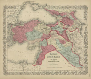 1860-Colton-039-s-034-TURKEY-IN-ASIA-034-Syria-Iraq-original-steel-plate-engraving