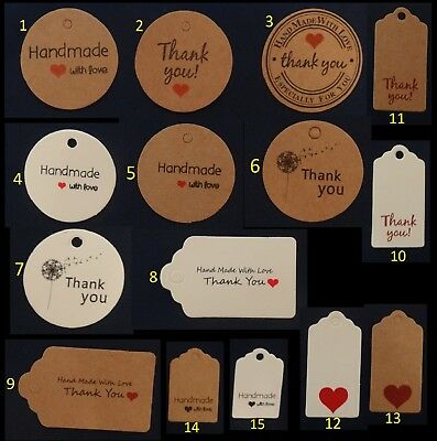10-50-100//Pack Card Label  free string UK Seller Kraft Paper Gift Tags 3 SIZES