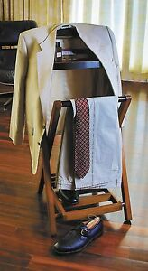 Wood-Butler-Stand-Valet-Suit-Rack-Hanger-Clothes-Organizer-Clothing-Wardrobe-New