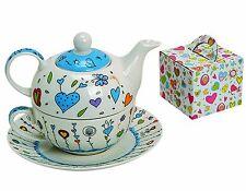 Teekannen Set 3tlg., Dekor Blau/Weiß, Blüten/Herzen, Porzellan, Geschenkkarton