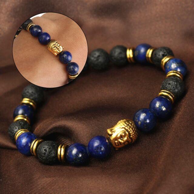 Lapis Lazuli Volcanic Rock Stone Golden Buddha Head Men S Bracelet 8mm
