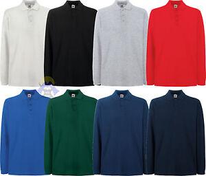 Polo-a-manica-Lunga-da-Uomo-FRUIT-OF-THE-LOOM-034-Premium-034-Taglia-S-M-L-XL-2XL-3XL