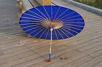 Royal Blue Plain Fabric Bamboo Parasol/Umbrella Great For Wedding Party Favor