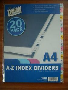 A-Z-Index-Dividers-A4-Multi-Coloured-with-A-Z-Tabs-20-Sheets-Filing-Presentation