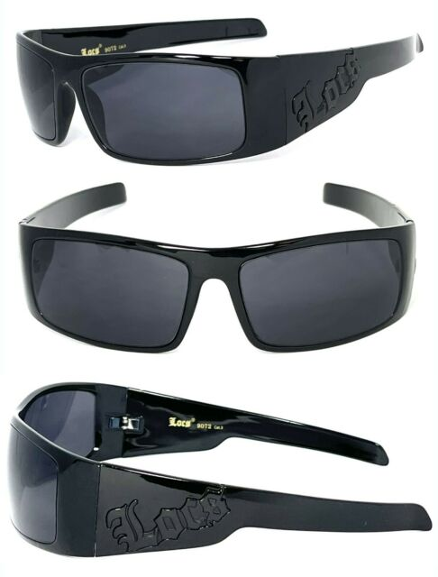 Locs Mens Cholo Sunglasses Shiny Black Frame black Locs Logo LC51