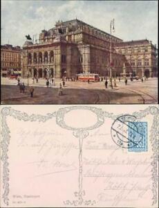 Ansichtskarte Wien Staatsoper mit Straßenbahn 1923