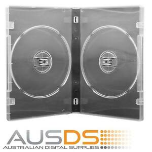 100 X CD / DVD Cases double clear 14mm spine - Holds 2 Discs