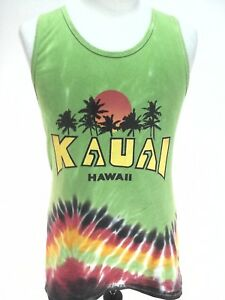 dee55d3fd246c5 Kauai Men s Summer Muscle Boho Hippie Tank Top Green Tied Dye Small ...