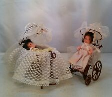 Vtg 4pc 1976 Miniature ROSEBUD BABY DOLLs  CARRIAGE STROLLER Bassinet