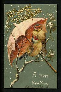 Novelty-Metal-Add-On-Vintage-postcard-New-Year-Greetings-bird-umbrella-embossed