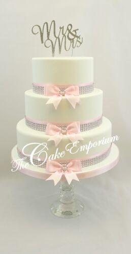Wedding Cake Diamante arcos cinta Rosa Diamante Embellecedor conjuntos de Pastel Topper opciones