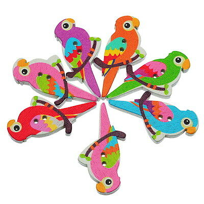 50pcs Mixed Wooden Buttons Bird Pattern Fit Sewing and Scrapbook 3.5x1.7cm