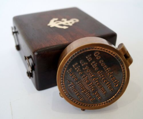 Pocket directional compass  wooden box case go confidently thoreau navigation