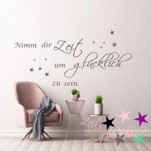 Wandtattoo-AA304-Wohnzimmer-Schlafzimmer-Nimm-Dir-Zeit-um-Gluecklich-zu-sein