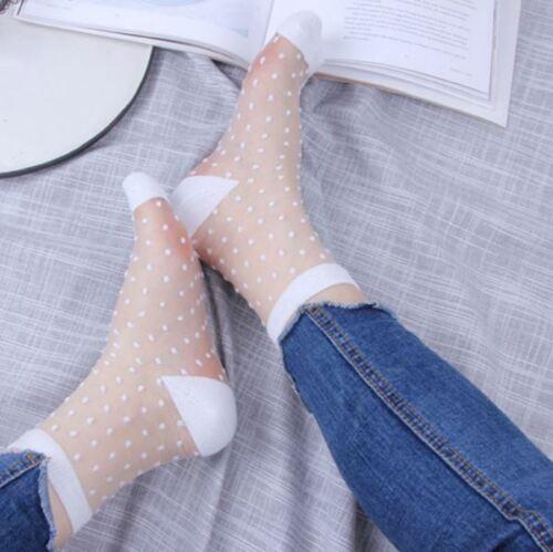 Women Ladies Sheer Mesh transparent Short Socks UltraThin Nylon White lace Fancy