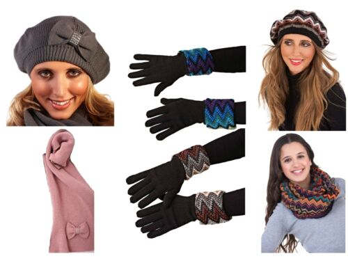Womens Hat Scarf Gloves Knitted Diamante Faux Fur Slouch Warm Winter Accessories