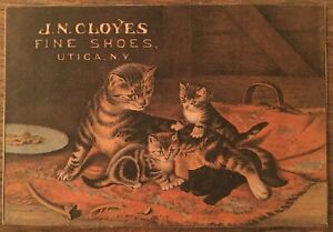 """""""HEY, WHO ARE YOU?"""" (1884) *UTICA, NEW YORK* Victorian Trade Card *THE BLACK CAT"""