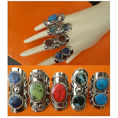 SALE LOT 60 BIG RINGS TWO SEMI PRECIOUS STONE PERUVIAN JEWELRY - Adjustable